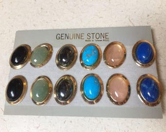 vintage stone earrings 6 pairs onyx rose quartz hematite aventurine NOS cool