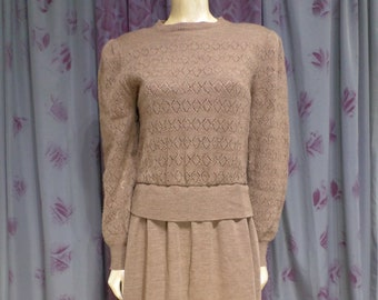0c94c11970 Vintage 80s Sweater Dress size 14 Brown With Pockets