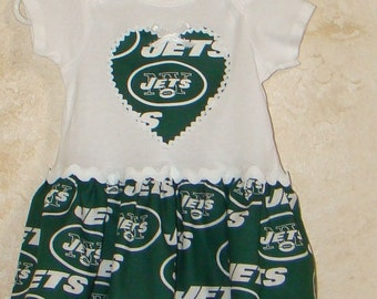 DISCONTINUING ITEM, Football Appliqued One piece Romper, made with Jets fabric, NY Jets, Onesie with skirt
