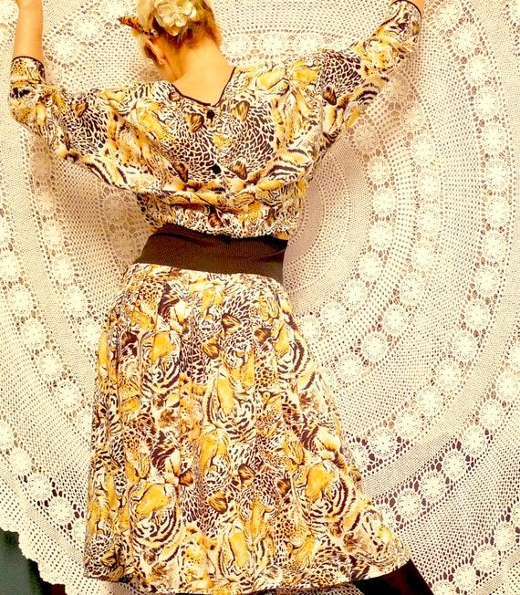 1980's Tiger Print Rayon Summer Frock - Alternati… - image 4
