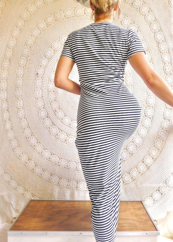 1990's Stripe Pencil Dress - Minimal Grunge / Body
