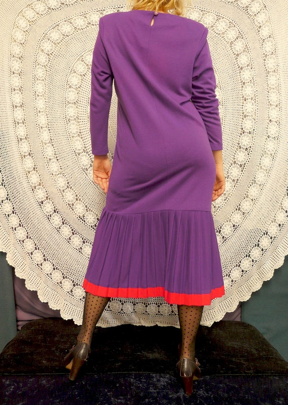 1980's Drop Waist Frock With Pleating - Katies La… - image 5