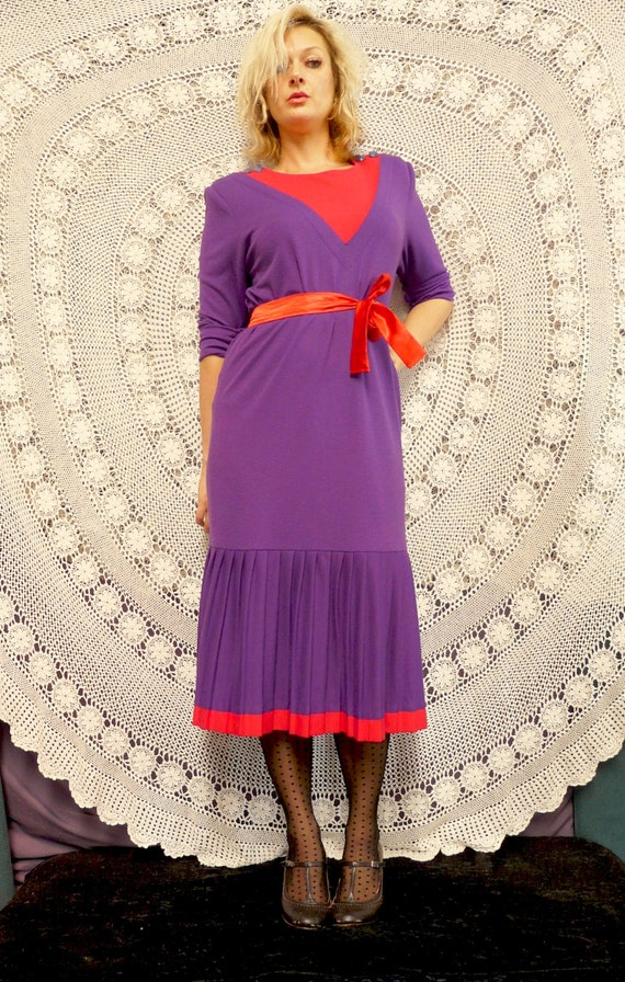 1980's Drop Waist Frock With Pleating - Katies La… - image 2