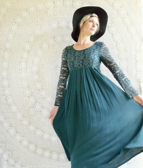 1990's Cheesecloth & Lace Maxi-Dress - I Like This