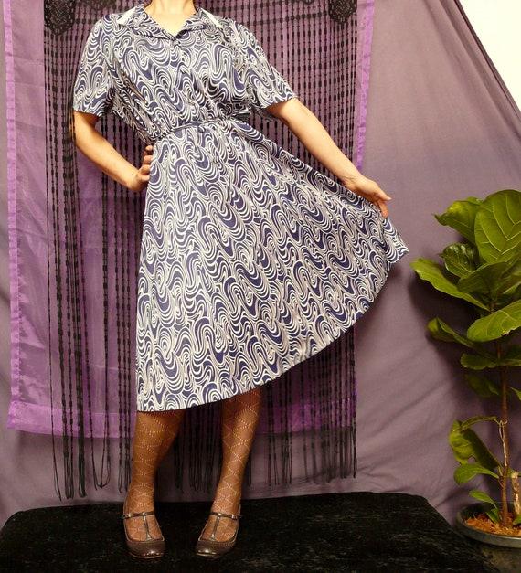 1970's Norman Hartnell Designer Day Dress