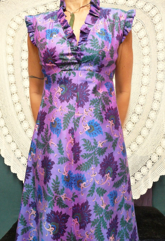 1960's Silk Maxi-Dress - Psychedelic Boho Summer P