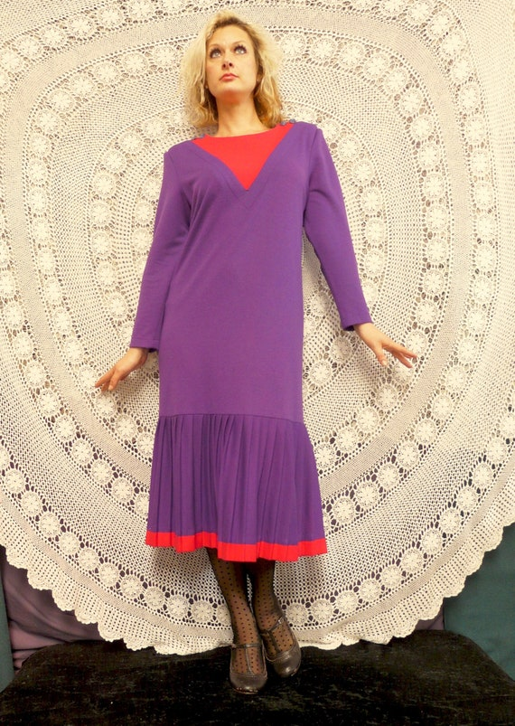 1980's Drop Waist Frock With Pleating - Katies La… - image 1