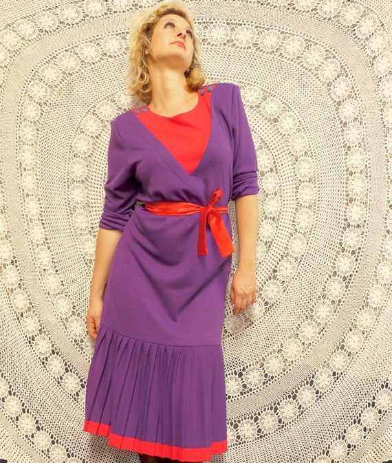 1980's Drop Waist Frock With Pleating - Katies La… - image 3