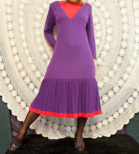 1980's Drop Waist Frock With Pleating - Katies La… - image 6