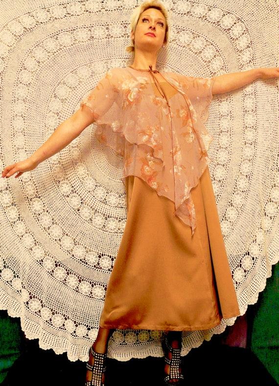 1970's Boho Maxi - Dress with Cape