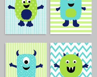 Monster Kinderzimmer Dekor Monster Wand Kunst Monster Kinder Etsy