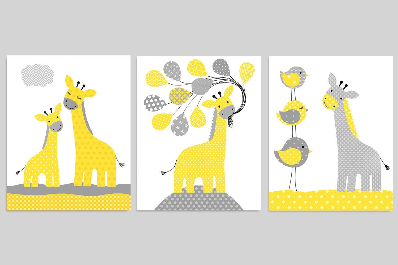 Giraffe Nursery Art Grey and Yellow Giraffe Baby Decor   Etsy