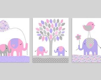 Elephant Nursery Wall Art, Girl's Room Decor, Baby Girl Nursery, Gray Pink Purple, Baby Shower Gift, Kids Canvas Art, Nursery Canvas