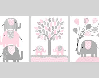 Elephant Nursery Decor, Elephant Wall Art, Grey and Pink, Girl Nursery Decor, Elephant Canvas Available, Girl Bedroom, Elephant Pictures