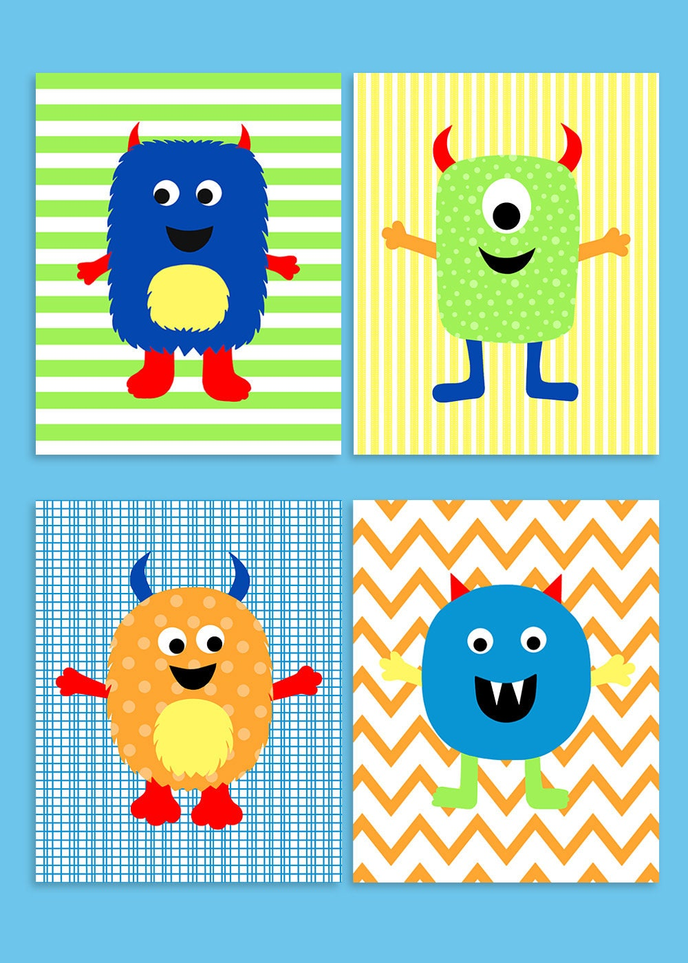 Monster Nursery Decor Colorful Nursery Baby Boy Decor | Etsy