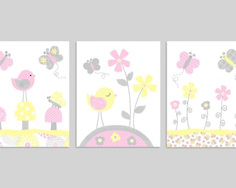 Baby Girl Decor, Bird Nursery, Butterfly Wall Art, Yellow Pink Grey, Girl Nursery Decor, Butterfly Canvas, Little Girl Bedroom, Flower Decor