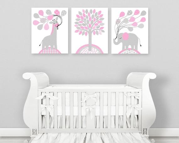 Grau und rosa Kinderzimmer, Kinderzimmer Elefant, Giraffe Kindergarten,  Dschungel Tier Kindergarten, Baby Mädchen Dekor, Safari-Kinderzimmer-Dekor,  ...