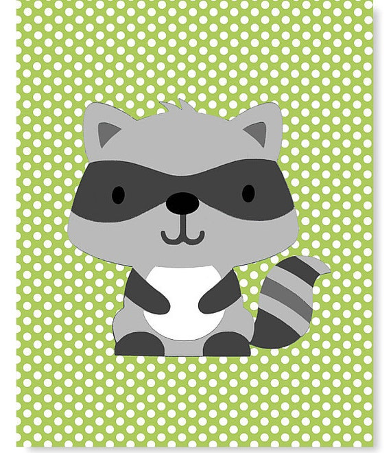 Woodland Nursery Art Raccoon Print Grey And Green Nursery