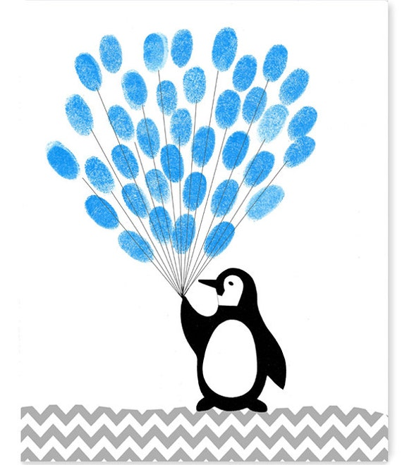 Fingerprint Baby Shower Alternative Guest Book Penguin With Etsy
