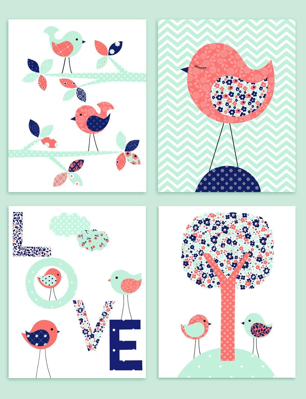 vogel kinderzimmer kunst baby m dchen raum dekor koralle. Black Bedroom Furniture Sets. Home Design Ideas
