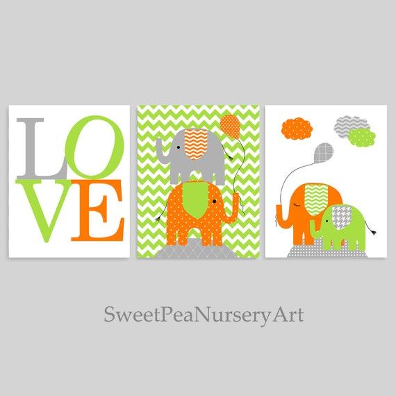 Chambre bébé garçon Elephant, Orange, gris vert, éléphant pépinière Art,  amour imprimer, décor de chambre de garçon, chambre d'enfant Jungle, Safari  ...