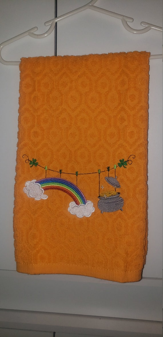 Embroidered St Patrick S Kitchen Towel Rainbow Pot Of Etsy