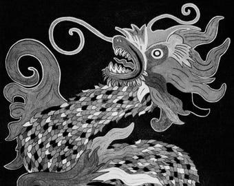 Black &White Chinese Dragon
