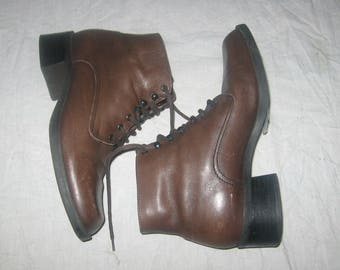 M I Vintage Nine West Brown Leather Lace Up Above Ankle Chunky Heels Granny  Grunge Goth Combat Riding Hipster Boho Pixie Boots Shoes Size 6M e99d8d91b3938
