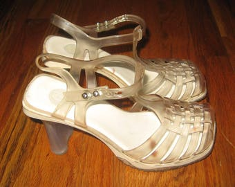 587f8239898b Vintage M Melissa Made In Brazil Clear Jelly Strappy Buckled Ankle Strap  Chunky High Grunge Goth Club Kid Sandals Shoes 6 USA 35 BRA 37 EUR