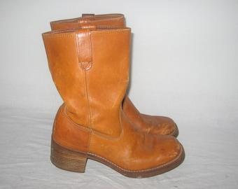 M   I buey Texas Vintage Made In Corea coñac Tan Brown Semi socorro vaquero  occidental Campus cuero tacón grueso Unisex mujer hombre botas 9 1 2D cea1f8f79411c