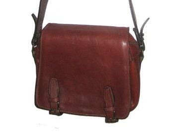 "Vintage Rare Cognac Brown Genuine Leather Flap Closure Buckled Adjustable Strap Compartment Large Cross Body Hippie Boho Handbag 9""x11 x4.5"""