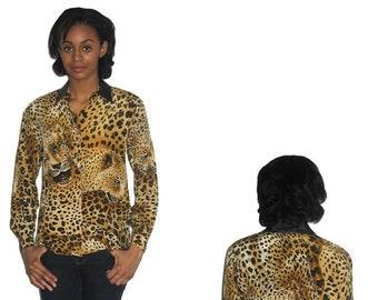 040032213256fc Vintage Bloomingdales Petites Black Leather Trim Leopard Cheetah Animal  Print Buttoned Silk Blouse Size 2