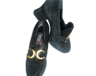 7be30cecee0 Vintage Wild Pair Black   Gold Suede Chunky High Heel Mary Jane Oxford Shoes  Size 6 B