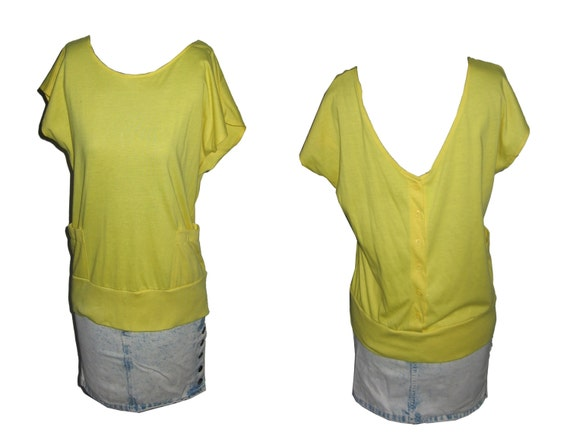 Vintage Amazing Yellow Scoop Front V-Neck Buttoned