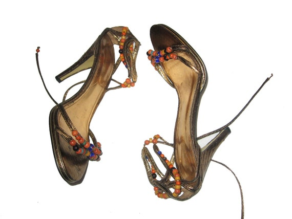 Vintage Enzo Angiolini Eaomani Metallic Multi Color Beaded Strappy Tie Caged Leather Upper High Heel Stiletto Sandals Pumps Shoes Size 7.5 M