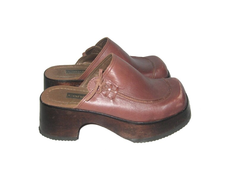 5af42f5f5d15 Vintage Candies Brown Platform Chunky Wooden Wedge Hard Heels