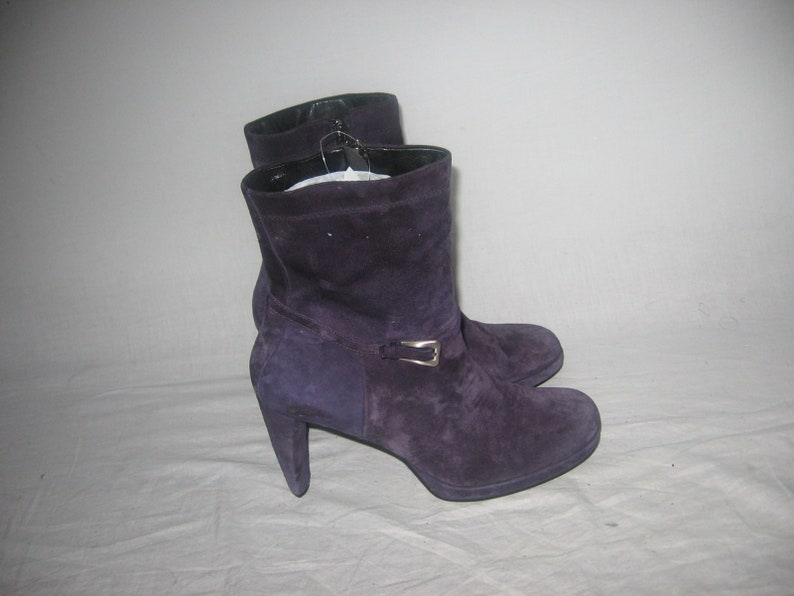 9c74637f0c9b8 Vintage Enzo Angiolini Purple Suede Leather Chunky High Heels Above Ankle  Side Zipper Buckled Strap Fashion Retro Boots Size 10 M