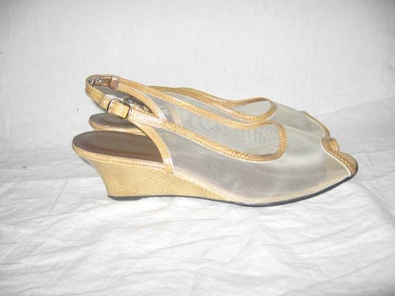 75479450a6b56c ... USA Reptile Beige en cuir impression impression impression clair voir à  travers maille Peep Toe boucle cheville Strap Wedge talons sandales  Chaussures ...