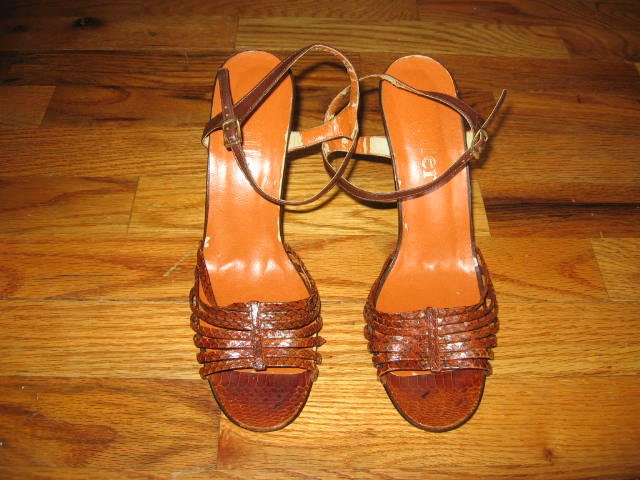 Vintage I Genuine Miller Brown Snake Skin Genuine I Leather Upper Strappy Caged High Heel Stiletto Pumps Sandals Shoes Size 9 ae50c4