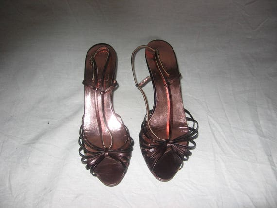 de4bff8db2ae Vintage Made In Italy Brown Strappy Buckled Ankle Strap Peep
