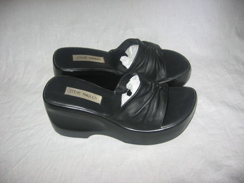 feadba20ea2 Vintage Steve Madden Black Cinched Gather Leather Carved Chunky Platform  Wedge High Heel Slide Mule Sandals Grunge Club Kid Shoes Size 8 1/2