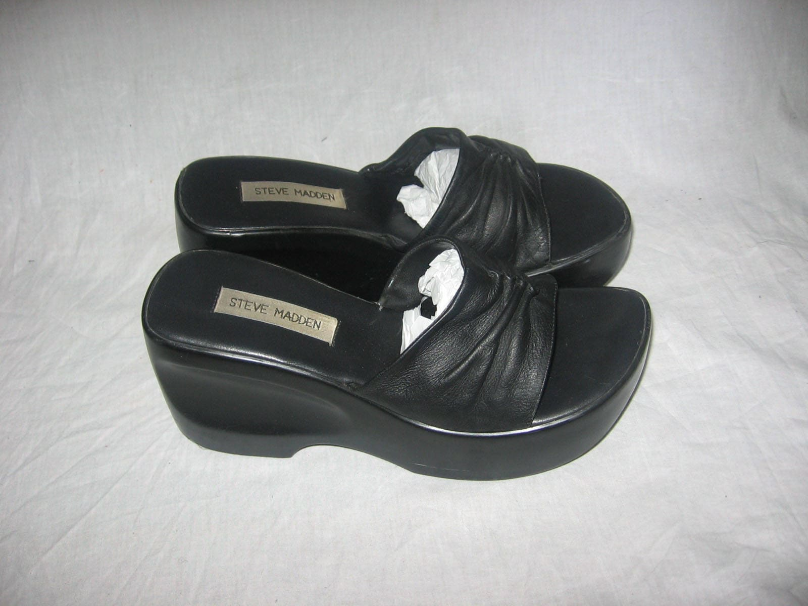7b752bb4918 Vintage Steve Madden Black Cinched Gather Leather Carved Chunky Platform  Wedge High Heel Slide Mule Sandals Grunge Club Kid Shoes Size 8 1/2