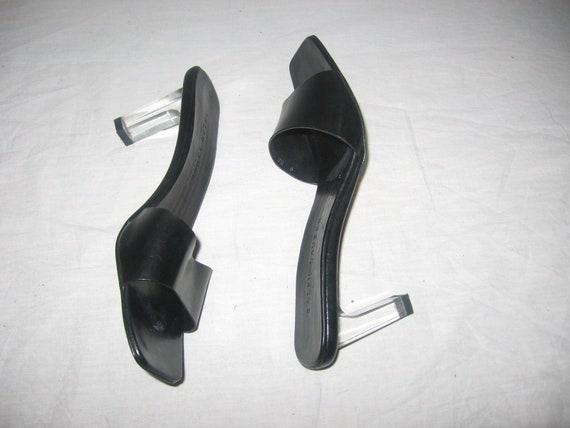 Vintage Designer Ralph Lauren Black Leather Clear See Thru Geometric High Heel High Geisha Cutout Sandals Slide Slippers Shoes Size 9