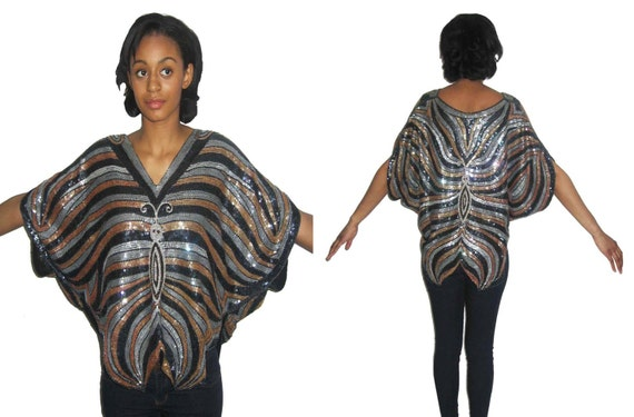 Vintage Judith Ann Creations Butterfly Design Sequins Beads Embellished Blouse