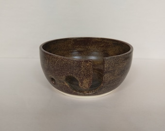 YARN BOWL - Temmoku J Cut - Hand Made Ceramic #815