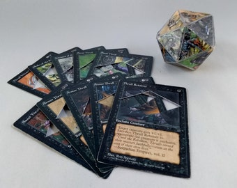Mtg LIFE COUNTER - White Ice Age - D20 20 Sided Die Handmade From CCG Cards #78