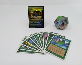 Mtg LIFE COUNTER - Green 4th Fourth Edition - D20 20 Sided Die Handmade From CCG Cards #71 - Plus Free Promo Card!