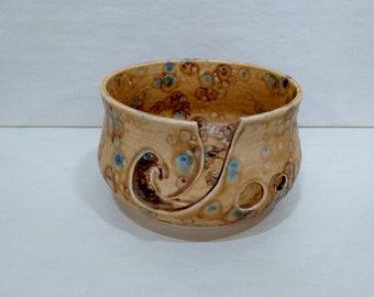 YARN BOWL - Brown Earth Mid Spiral Cut - Hand Made Ceramic #843