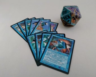 Mtg LIFE COUNTER - Blue Fallen Empires - D20 20 Sided Die Handmade From CCG Cards #67