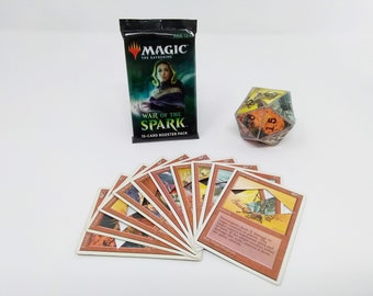 Mtg LIFE COUNTER - Red Fourth 4th Edition - D20 20 Sided Die Handmade From CCG Cards #74 - Plus Free Booster Pack!